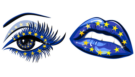European Union Flag in beautiful female eye and lips Vector