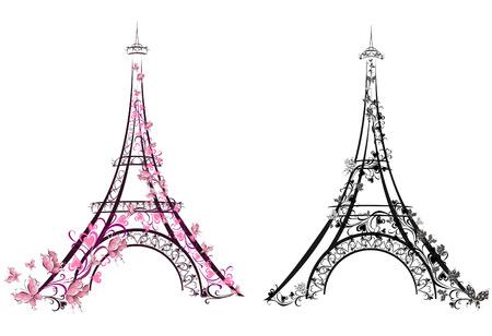 siluetas de animales: Torre Eiffel, Par�s, Francia Ilustraci�n vectorial