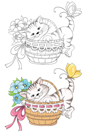 Cartoon kitty in basket for coloring book Vector