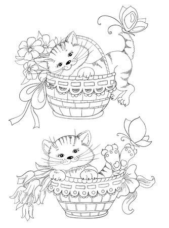 Vector hand drawing kitty and bouquet of flowers in basket Vector