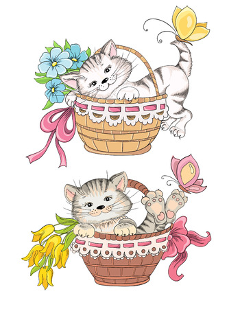 gift basket: Kitty and bouquet of flowers in basket Illustration