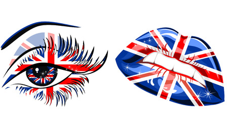 lipstick kiss: Flags of the Great Britain in beautiful female eye and lips Illustration