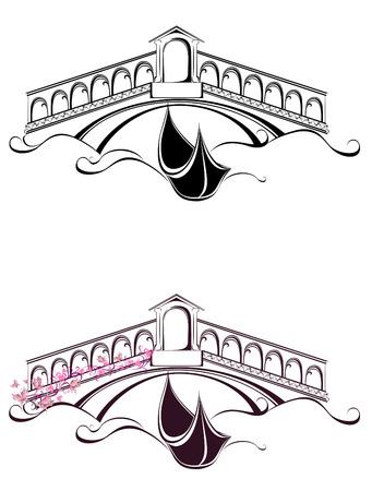 ヴェネツィアのゴンドラ ボートと橋風景  イラスト・ベクター素材