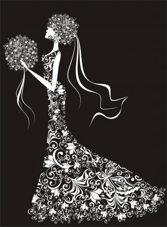 frau dusche: Hochzeits-Hintergrund - Braut im Blumenkleid