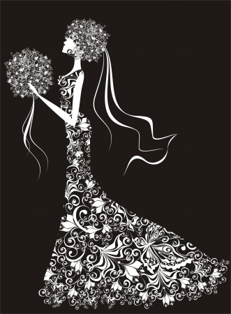 wedding dress silhouette: Wedding background - bride in floral dress