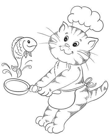 dripping pan: Cartoon cat chef prepares grilled fish Illustration