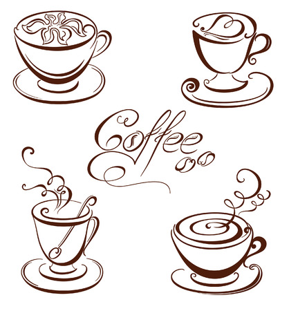 Set coffee cups  Vector set of coffee design elements  Vector