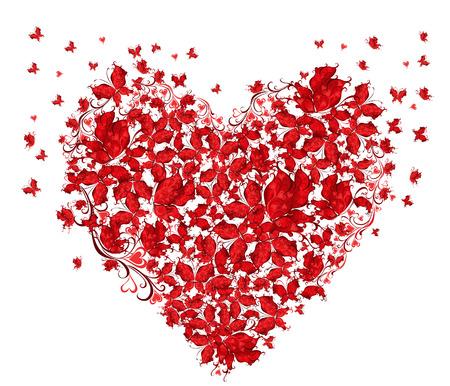 나비의 벡터 일러스트 레이 션의 꽃 사랑 모양의 심장
