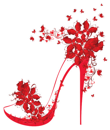 tacones rojos: Zapatos de tacón alto decorado con mariposas Ilustración vectorial