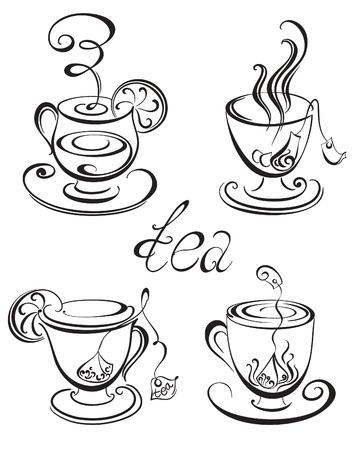 limones: Conjunto de ilustraci�n vectorial tazas de t�