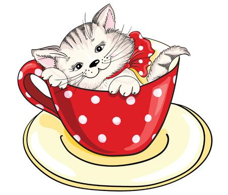 大きなカップ内に座って漫画子猫  イラスト・ベクター素材