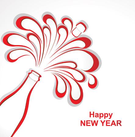 Célébration de Champagne. Ouvrez la bouteille de champagne découpés dans du papier. Vector illustration Banque d'images - 24507189