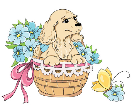 gift basket: Cartoon puppy and bouquet of flowers in basket  Vector hand drawing Illustration