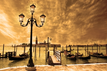 giorgio: Venice lagoon  Gondolas moored by Saint Mark square on the Grand canals at night  Venice, Italy, Europe