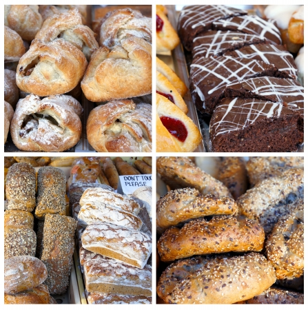 baked goods: Fresh bread buns and home baked cakes at the country market  Stock Photo