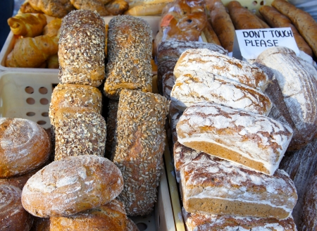 bake sale sign: Bread at the market Stock Photo