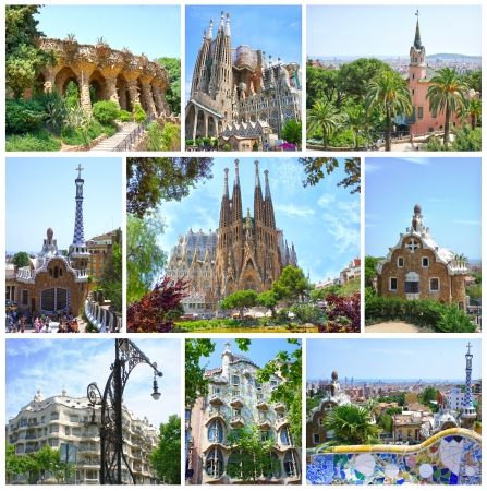 BARCELONA, SPAIN - MAY 28  Fantasy Architecture Designed by famous Antoni Gaudi  Parc Guell, Casa Mila, Casa Battlo and La Sagrada Familia on May 28,2012  Barcelona, Spain