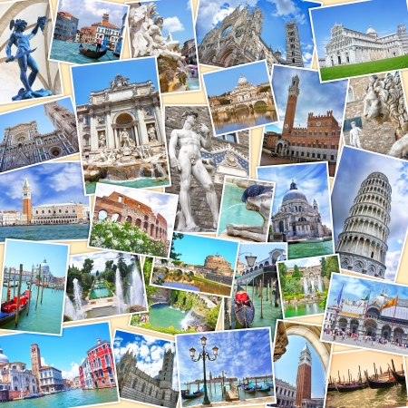 Stack of travel images from Italy  photos   Famous landmarks of Italian cities - Venice, Rome, Florence, Siena, Pisa, Tivoli
