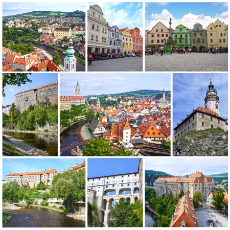 Photo collage travel in Cesky Krumlov, Czech Republic, UNESCO World Heritage Site