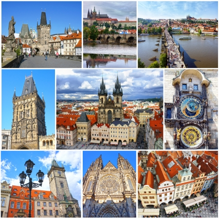 Collage of landmarks of Prague  Charles bridge, Cathedral of Saint Vitus, Orloj Astronomical Clock, Church of our Lady Tyn in old town of Prague, Czech Republic