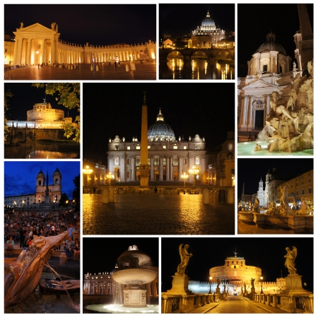 Rome in the night  Piazza Navona, Vatican, Spanish Steps, castle and bridge Saint Angel