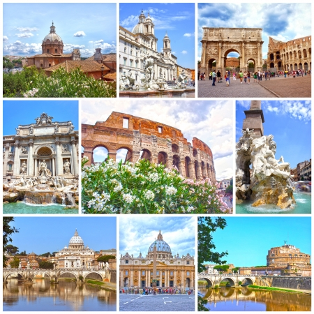 the fountain with angels: Collage of landmarks of Rome  Arch of Constantine, Colosseum, Piazza Navona, Vatican, Saint Peter cathedral, Castle and bridge Saint Angel, Fountain di Trevi Editorial