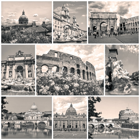 constantine: Collage of landmarks of Rome  Arch of Constantine, Colosseum, Piazza Navona, Vatican, Saint Peter cathedral, Castle and bridge Saint Angel, Fountain di Trevi Editorial