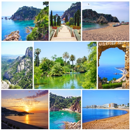 costa brava: Collage of summer beach images - nature and travel background  Spain, Costa Brava