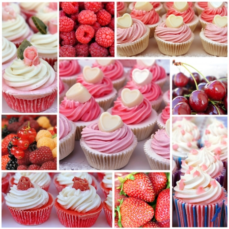 Cupcakes with berries  Collage of sweet desserts  photo