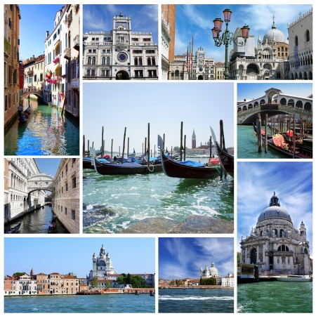 Collage of landmarks of Venice, Italy photo