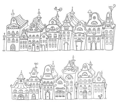Hand drawn vintage homes. Old town Vector