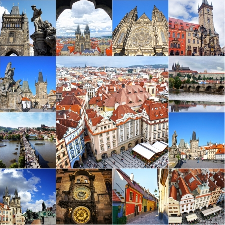 czech women: Collage of landmarks of Prague. Charles bridge, Cathedral of Saint Vitus, Orloj Astronomical Clock, Zlata Ulicka, Church of our Lady Tyn in old town of Prague, Czech Republic Editorial