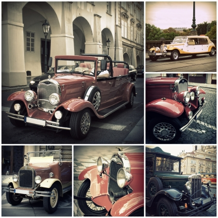 Retro car on the streets of Prague  Classic Vintage Vehicles