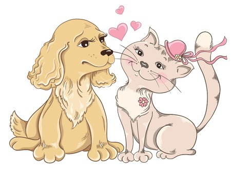 Cat and Dog  Greeting card for Valentines Day Illustration