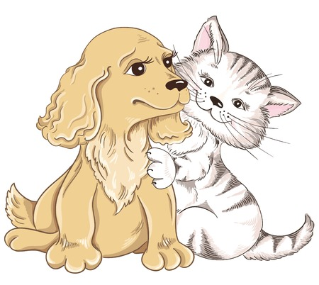 Cat and Dog  Greeting card for Valentines Day Vector