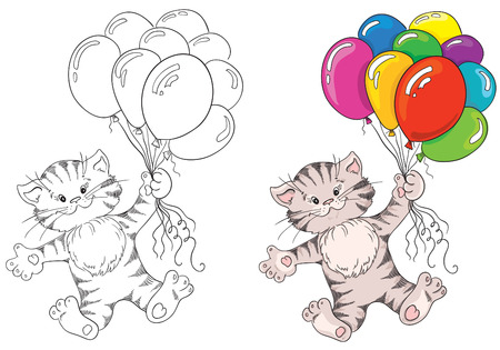 Kitten flying on a bunch of balloons  Vector illustration for coloring book Vector