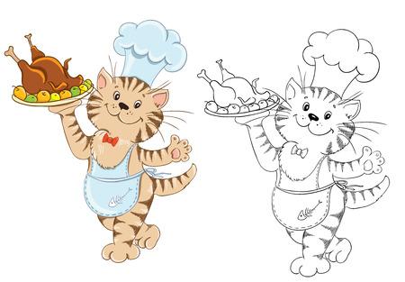 Coloring mit Cartoon Katze K�chenchef f�r Kinder Bildung Buch