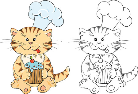 Coloring book with cartoon cat chef with cupcake for children education Vector
