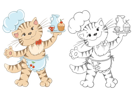 cooking book: Coloring book with cartoon cat chef for children education Illustration