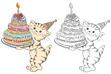 Coloring book with cartoon cat with birthday cake for children education Vector