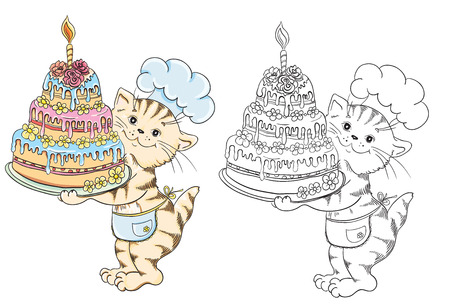 Coloring book with cartoon cat chef with birthday cake for children education Vector
