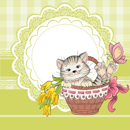 Vintage birthday card with funny cat on a lace background and copy space for you text Vector
