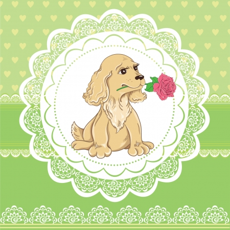 Vintage Valentines Day card with funny dog on lace background Vector