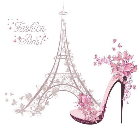 Zapatos de tacón alto en el fondo de la Torre Eiffel de París Fashion