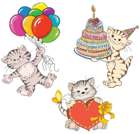 Cats. Idea for greeting card on birthday  Vector