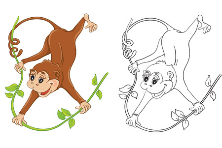 tree: Coloring book with cartoon monkey for children education Illustration