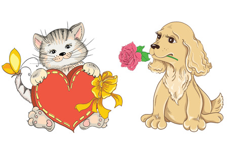 Cat and Dog. Idea for greeting card on Valentines Day Vector
