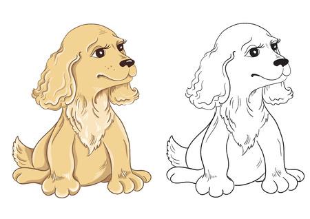 children education: Libro para colorear con el perro de la historieta para la educaci�n infantil