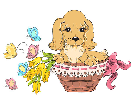 Dog in basket. Idea for greeting card on birthday Vector