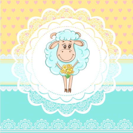 Vintage birthday card with funny sheep on lace background Vector